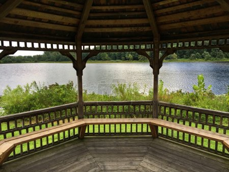 Inside view of a wooden gazebo near trees and a body of water.