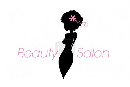 Curvy woman body silhouette. Vector beauty, fashion, salon, spa business logo with copy space text.