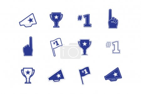 Set of sports fan and team icons, logos, frames and text in blue and white.