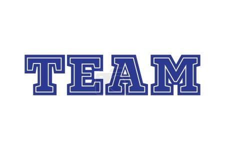 Team sports logo. Blue text design symbol icon on a white background.