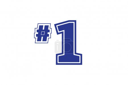 Number one team icon. Blue sports hashtag and number 1 logo design element.