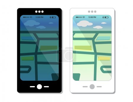 Smartphone templates with phone icons and outdoor map views in day and night. Video game vector design elements.