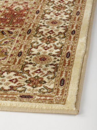 Oriental rug with floral geometric abstract ornament fabric texture.