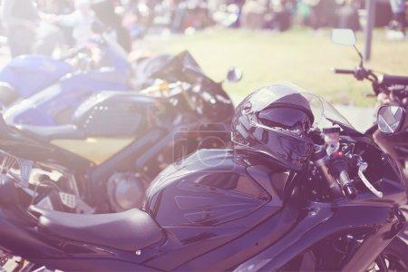 Photo pour Détail de la moto. Chrome moto closeup.concept de détails sur les transports et les motos. - image libre de droit