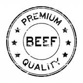 Grunge black beef and premium quality rubber stamp