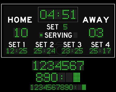 Digital green led volleyball scoreboard