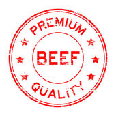 Grunge red beef and premium quality rubber stamp
