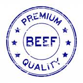 Grunge blue beef and premium quality rubber stamp
