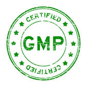 Grunge green GMP (Good manufacuturing practice) and certified rubber stamp