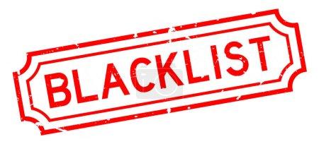 Illustration pour Grunge rouge liste noire mot caoutchouc sceau timbre sur fond blanc - image libre de droit