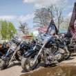 Постер, плакат: Black chrome Harley Davidson motorcycles and other sports motorcycles in the parking lot of members of the biker club of Ukraine Lviv