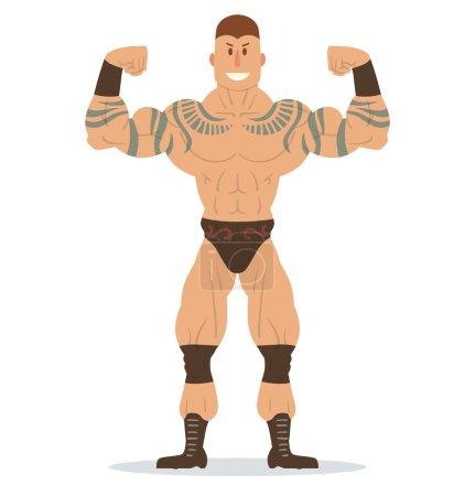 Wrestler with tattoos