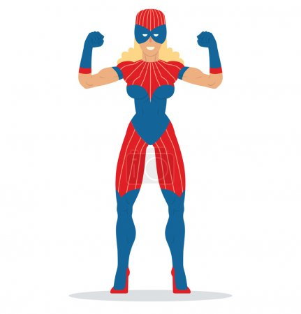 Illustration for Vector cartoon image of a woman superhero with blond hair in a red-blue mask and a red-blue suit standing in a pose of bodybuilder and smiling on a white background. Vector illustration. - Royalty Free Image