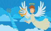 Male angel with brown hair on a heaven background