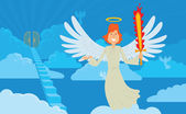 Male angel with red hair on a heaven background
