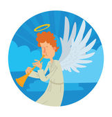 Heaven round frame male angel with orange curly hair