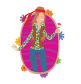 Oval frame woman hippie with long brown hair