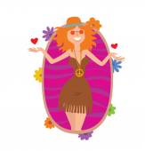 Oval frame woman hippie with wavy red hair