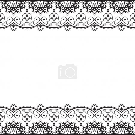 Indian, Mehndi Henna line lace element with flowers pattern card for tattoo on white background