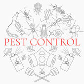Pest control line icon set with insects and rodents and pest control equipment Linear design elements for exterminator service and pest control companies