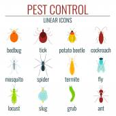 Collection of pest control colored insect icons  Perfect for exterminator service and pest control companies