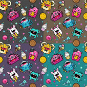 Seamless pattern with monster and weet food