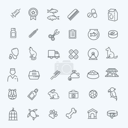 Illustration pour Ensemble d'icônes vectorielles Web - animal de compagnie, vétérinaire, animalerie, types d'animaux de compagnie - image libre de droit