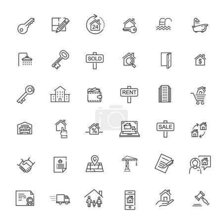 Illustration pour Aperçu des icônes web ensemble - Immobilier. Immeubles - image libre de droit