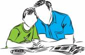 father and son doing homework illustration