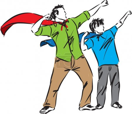 Illustration pour Illustration père et fils fête des pères - image libre de droit