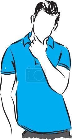 Illustration pour Homme pensée geste illustration - image libre de droit