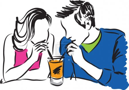 Illustration pour Homme et femme couple illustration c - image libre de droit