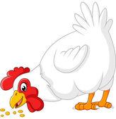 Cartoon chicken eating seeds