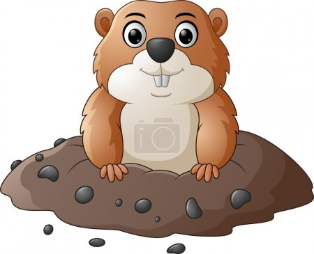 Illustration for Vector illustration of Cartoon funny groundhog - Royalty Free Image