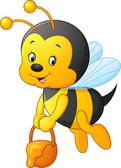 Vector illustration of Flying Bee cartoon holding honey bucket