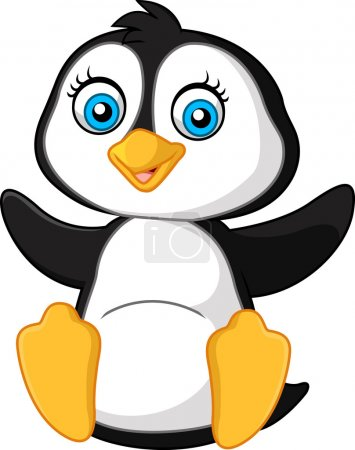 Illustration for Vector illustration of Cute funny penguin - Royalty Free Image