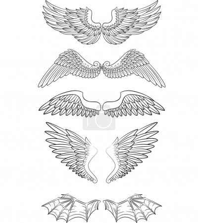 Illustration for Vector illustration of Cartoon angel wings collection set - Royalty Free Image