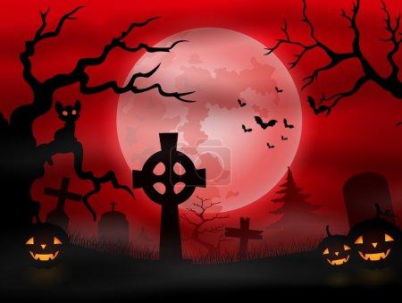 Illustration pour Illustration vectorielle du cimetière d'Halloween avec pleine lune - image libre de droit