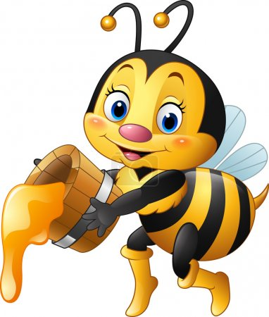 Cartoon bee holding bucket with honey dripping