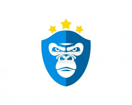 Illustration for Shield with gorilla face and star - Royalty Free Image