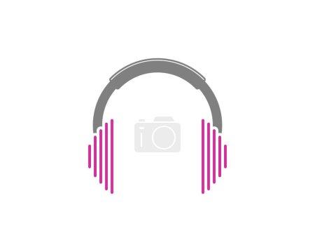 Illustration pour Casque avec logo sound wave - image libre de droit