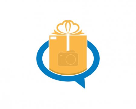 Illustration for Gift box inside the bubble chat logo - Royalty Free Image
