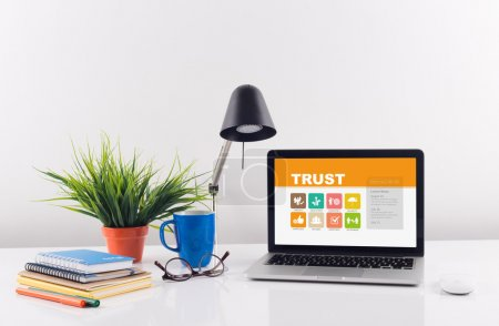 laptop with trust on screen