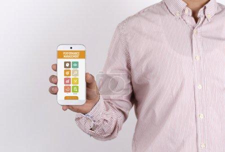 Man showing smartphone