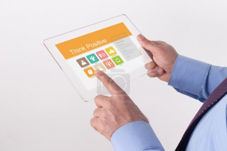Hands Holding Transparent Tablet PC