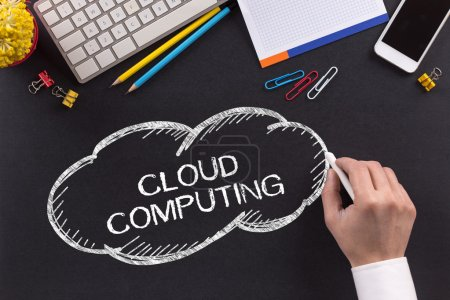 Photo for Different objects on Chalkboard and text cloud computing - Royalty Free Image