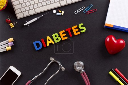 Health concept with different medicine objects and signs with diabetes text in a middle