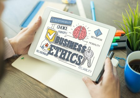 Business Ethics Concept on Tablet PC Screen