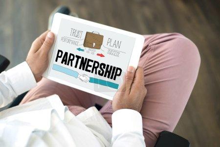 Partnership word on screen
