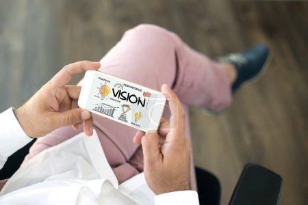 communication concept. Vision text